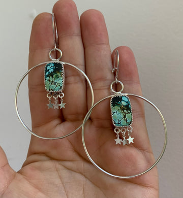 Baby Star Turquoise Hoops