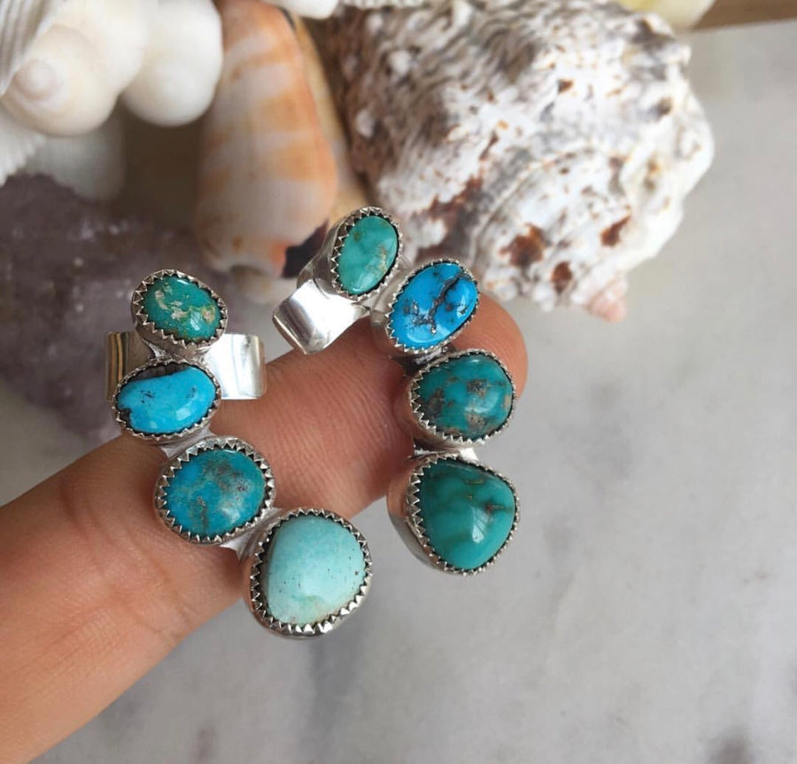 Petit Turquoise Ear Climber (Pair)