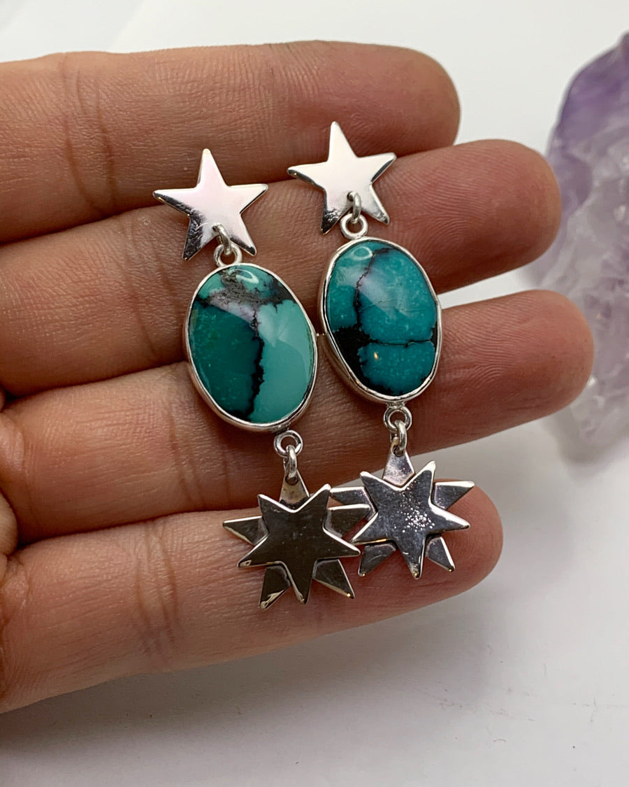 5 Stones Turquoise Ear Climber