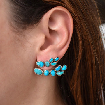 Turquoise Ear Climber with Ear Jacket Pair