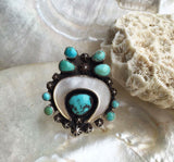 Large Moon Dancer Turquoise and Mother of Pearl Ring.