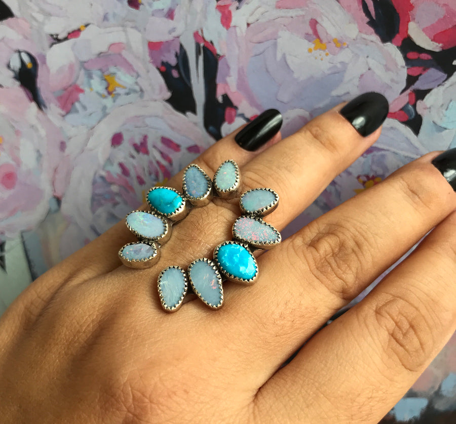 Open Arms Opal and Turquoise Ring