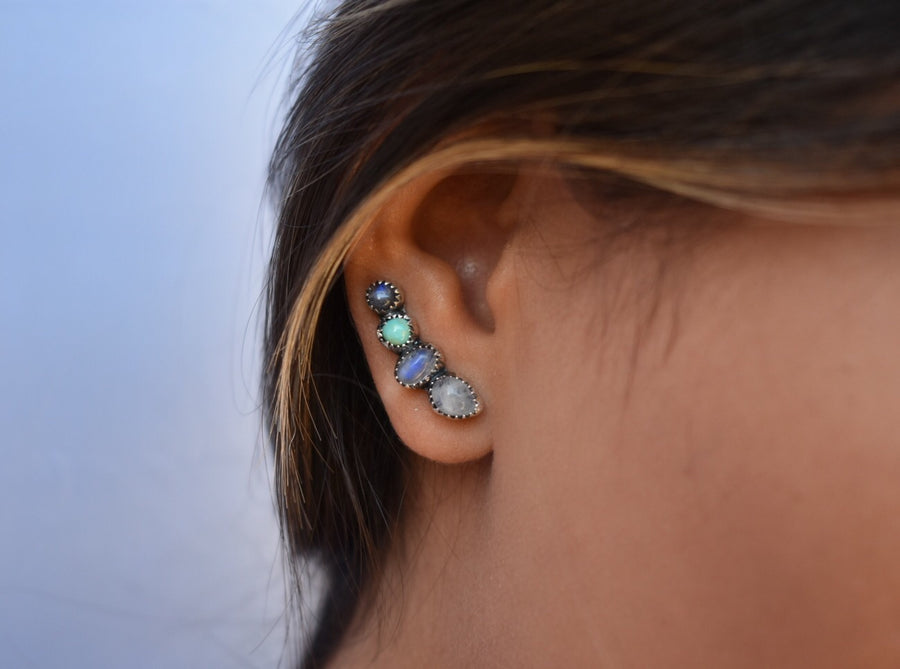 Sweet Moonstone and Turquoise Ear Climber