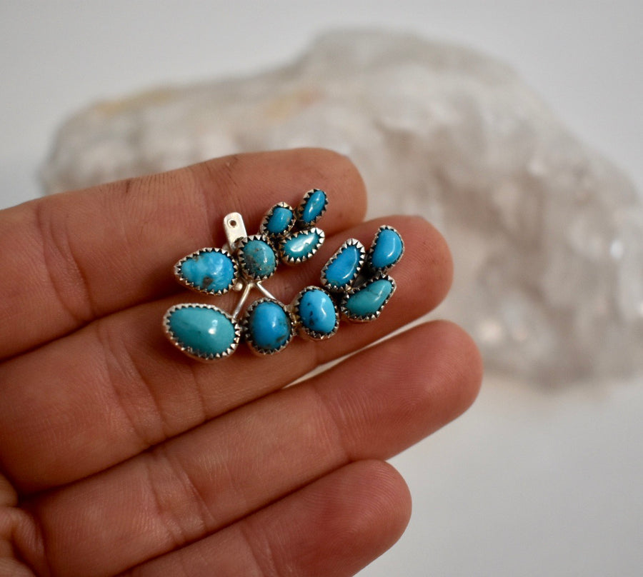 Turquoise Ear Climber with Ear Jacket