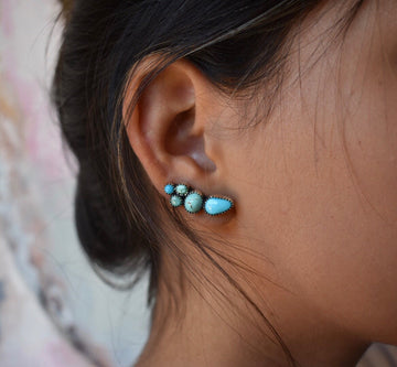 Sweetheart Turquoise Ear Climber Pair - Sterling Silver