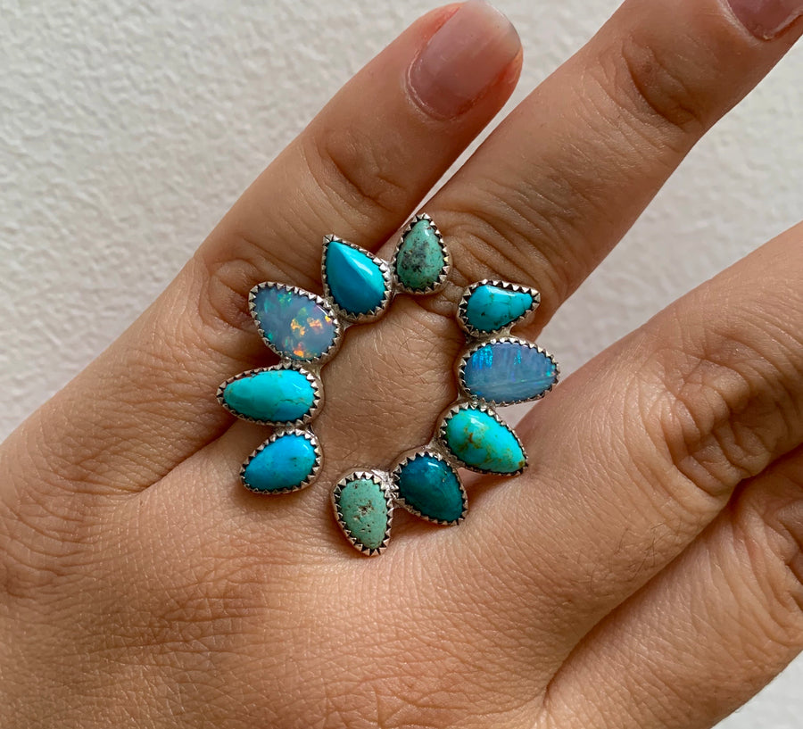 Open Opal and Turquoise Ring.