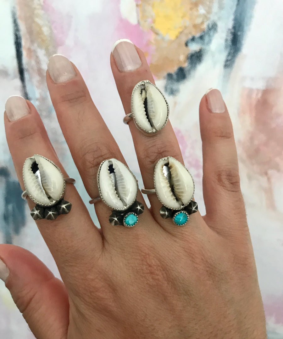 Cowrie and Turquoise Ring