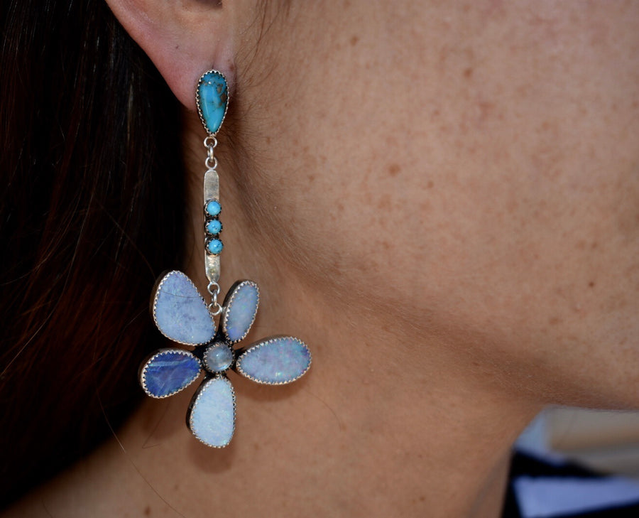 Opal Flower and Turquoise point Earrings.