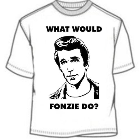 What Would Fonzie Do? https://www.mondomonsterwear.com/products/what-would-fonzie-do Aaaaaaaaaaay. Never make a move without figuring out just what Arthur Fonzerelli (the Fonz) would do. Happy Days. Richie Cunningham. Arnold's Drive In. Shirt