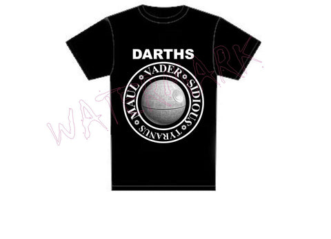 Star Wars: Darths The Ramones https://www.mondomonsterwear.com/products/star-wars-darths Darths. Vader, Sidious. Maul. Tyrannus. The Ramones Logo. Joey Ramone. Star Wars. shirt. CBGB. Punk music.