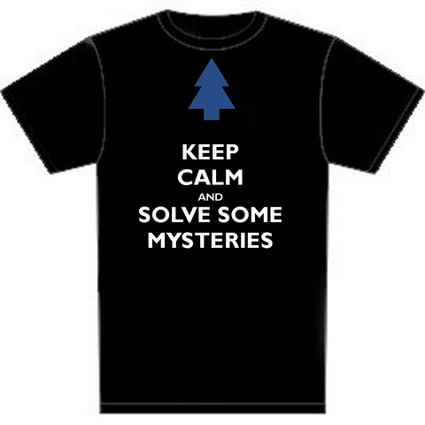 "Gravity Falls: Keep Calm and Solve Some Mysteries https://www.mondomonsterwear.com/products/gravity-falls-keep-calm-and-solve-some-mysteries Whether or not you fully understand the mystery behind ""Gravity Falls"" there's no doubt that the show is a hit and loved by kids. It's their Twin Peaks. Shirt. Dipper. Mystery Shack. Grunkle Stan."