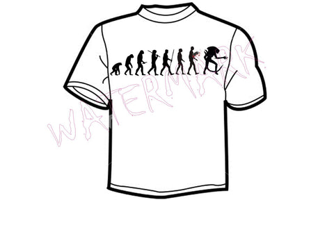 "Alien Evolution https://www.mondomonsterwear.com/products/alien-evolution Evolution can be a mystery. We'll never understand the missing link or ""Lucy"". But if evolution continues we might evolve into the alien from ""Alien"". Shirt"