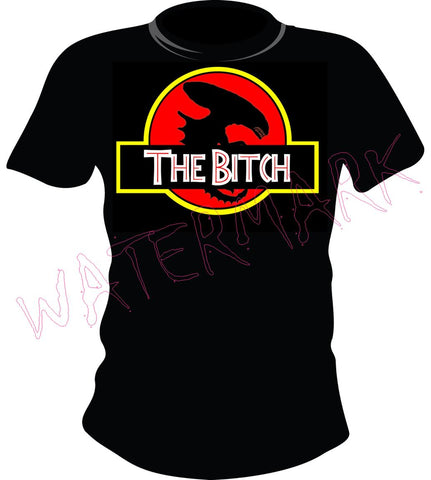 Alien: The Bitch https://www.mondomonsterwear.com/products/alien-the-bitch Alien and Aliens created a great new life form meant to scare and terrorize. Get the great shirt that parodies it and Jurassic Park. Shirt