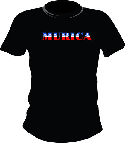 Murica https://www.mondomonsterwear.com/products/murica Murica is a slang term for America which is used to denote extreme patriotism. Shirt. TShirt. Tee Shirt. T-Shirt. T Shirt.