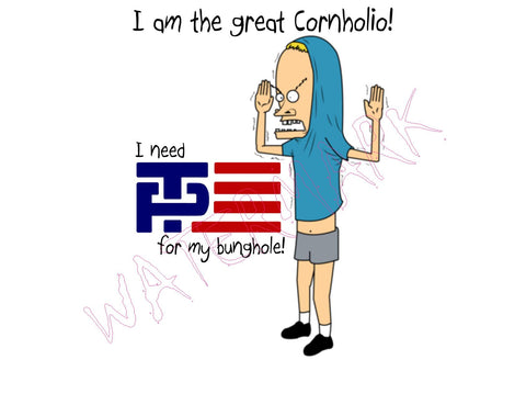 Beavis and Butthead: Cornholio Donald Trump https://www.mondomonsterwear.com/products/beavis-butthead-cornholio-donald-trump Beavis. Butthead. Cornholio. Bunghole. Tee Pee. TP. Donald Trump. Mike Pence. Build a wall. President. Shirt. Not My President.