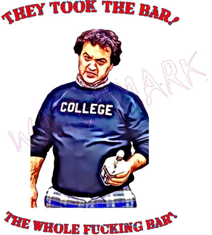 Animal House: They Took The Bar https://www.mondomonsterwear.com/products/animal-house-they-took-the-bar Animal House. John Belushi. Delta House. Bluto. College. Faber College. shirt