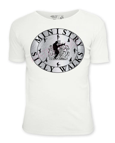 Monty Python: Ministry of Silly Walks Crest  https://www.mondomonsterwear.com/products/monty-python-ministry-of-silly-walks-crest  Shirt. Tee Shirt. Monty Python. Shirt. Ministry of Silly Walks. Holy Grail. Monty Python's Flying Circus. john cleese.