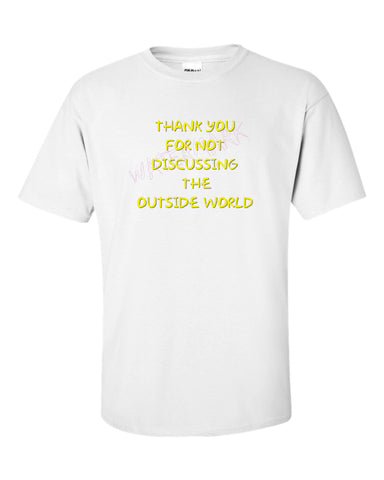 The Simpsons: Outside World  https://www.mondomonsterwear.com/products/the-simpsons-outside-world  Moe's Tavern. Bar. The Simpsons. Homer, Marge, Bart. Shirt. Tshirt. Springfield. Retirement Castle. Thank you for not discussing the outside world. Abraham Simpson.