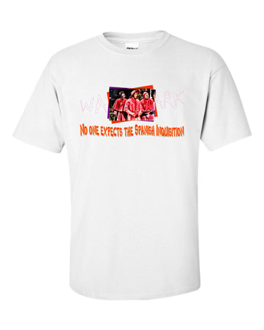 Monty Python: Spanish Inquisition  https://www.mondomonsterwear.com/products/monty-python-spanish-inquisition  Shirt. Tee Shirt. Pope. Spanish Inquistion. Shirt. Michael Palin, Terry Jones. Terry Gilliam. Eric Idle. john cleese.