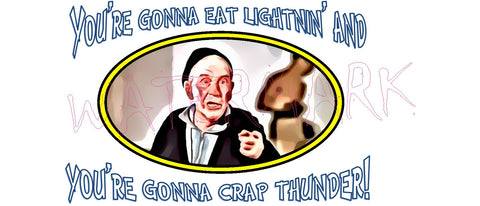 Rocky: Mickey Crap Thunder  https://www.mondomonsterwear.com/products/rocky-mickey-crap-thunder  Rocky, mr. t, mickey, clubber lang. thunder lips, hulk hogan, adrian, You're gonna eat lightin' and you're gonna crap thunder, boxing Shirt