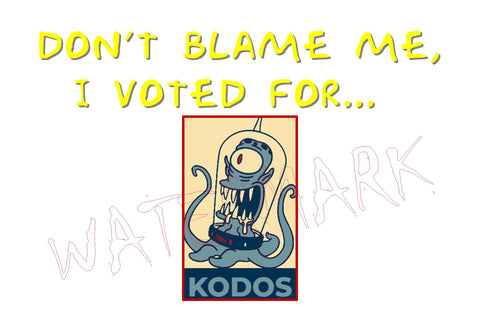 The Simpsons: Don't Blame Me, I Voted for Kodos 2  https://www.mondomonsterwear.com/products/the-simpsons-dont-blame-me-i-voted-for-kodos-2  Kodos, Kang, Homer, Marge, Lisa, Bart, Maggie, Simpson, The Simpsons, Matt, Groening, Springfield, Tee-Shirt, teeshirt, Tee, shirt. Trump. Biden. Election.