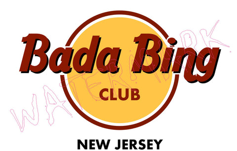 The Sopranos: Club Bada Bing  https://www.mondomonsterwear.com/products/the-sopranos-club-bada-bing  Shirt. T Shirt. Tony Soprano. Bada Bing. New Jersey. James Gandolfini. strippers