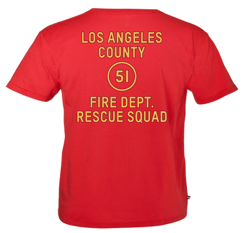 Emergency: Los Angeles County Fire Department  https://www.mondomonsterwear.com/products/emergency-los-angeles-county-fire-department  Shirt, Emergency, Emergency One, Roy DeSoto, Jonny Gage, Randolph Mantooth, Paramedic, Squad 51, Fire Department, Emergency Medical Technician, Rampart Hospital