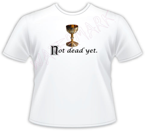 Monty Python: Holy Grail Not Dead Yet  https://www.mondomonsterwear.com/products/monty-python-holy-grail-not-dead-yet  Shirt. Tee Shirt. King Arthur. Shirt. Holy Grail. Not Dead Yet, Bring Out Your Dead. King Arthur. Michael Palin, Terry Jones. Terry Gilliam. Eric Idle. john cleese.