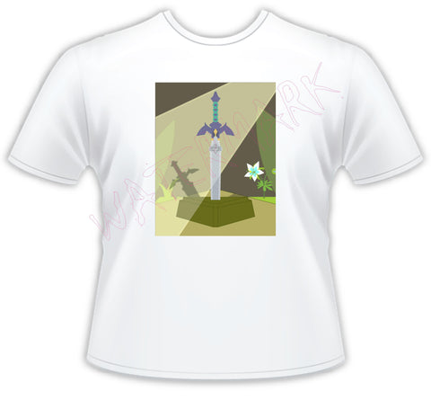 Legend of Zelda: Master Sword  https://www.mondomonsterwear.com/products/legend-of-zelda-master-sword  Shirt. Tee Shirt. T Shirt. Legend of Zelda. Link. Master Sword