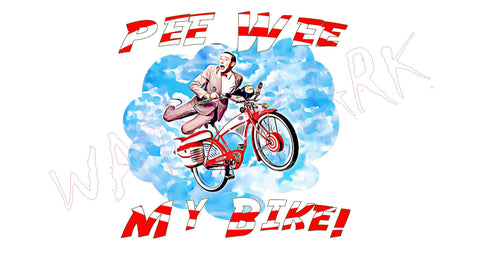 Pee Wee Herman: My Bike  https://www.mondomonsterwear.com/products/pee-wee-herman-my-bike  Shirt. Pee Wee Herman. Paul Reubens. Paul Ruebens. Pee Wee's Big Adventure. Bike. Bicycle. Phil Hartman