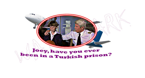 Airplane: Turkish Prison  https://www.mondomonsterwear.com/products/airplane-turkish-prison  Shirt. Tee Shirt. T Shirt. Naked Gun. Airplane, Leslie Nielsen. Police Squad. Drebin. Frank. Captain Ovuer, Oveur, Over. Turkish Prison