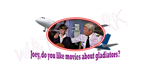 Airplane: Gladiator Movies  https://www.mondomonsterwear.com/products/airplane-gladiator-movies  Shirt. Tee Shirt. T Shirt. Naked Gun. Airplane, Leslie Nielsen. Police Squad. Drebin. Frank. Captain Ovuer, Oveur, Over. Do you like movies about Gladiators