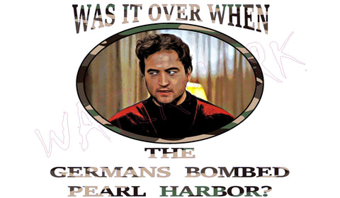Animal House: Germans Bombed Pearl Harbor  https://www.mondomonsterwear.com/products/animal-house-germans-bombed-pearl-harbor  Election. US Senate. Senator. Animal House. John Belushi. Delta House. Bluto. College. Faber College. shirt. Germans bombed Pearl Harbor