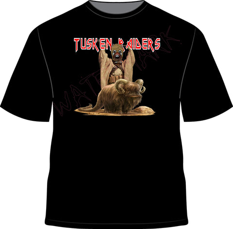 "Star Wars: Tusken Raiders  https://www.mondomonsterwear.com/products/star-wars-tusken-raiders  They're fierce. They ride Banthas. And They're Angry. Football team and the best ""motorcycle"" gang the Tusken Raiders from Star Wars. Shirt. Oakland. sand people"