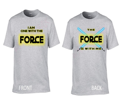 Star Wars: I Am One With The Force  https://www.mondomonsterwear.com/products/star-wars-i-am-one-with-the-force  Star Wars. Rogue One. I am one with the force. the force is with me. Shir