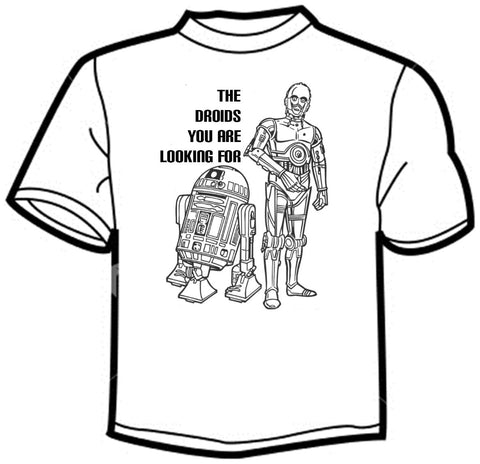 Star Wars: The Droids You're Looking For Star Wars: The Droids You're Looking For https://www.mondomonsterwear.com/products/star-wars-the-droids-youre-looking-for The classic blunder in Star Wars was when the stormtrooper let Obi Wan and Luke pass with the droids they were looking for. Shirt. C3PO, C3P0, R2D2.