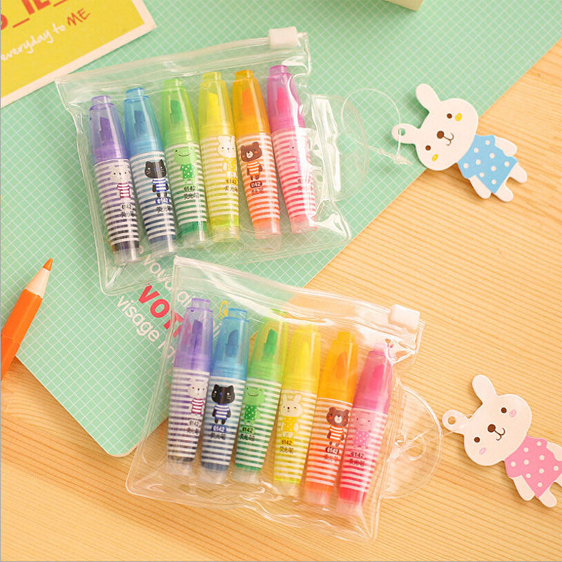 Mini Animal Friends Highlighter Set (Set of 6) - MIMO Pencil Case Shop  - 1