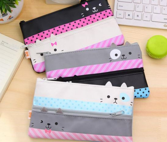 Double Zipper Cat Pencil Case