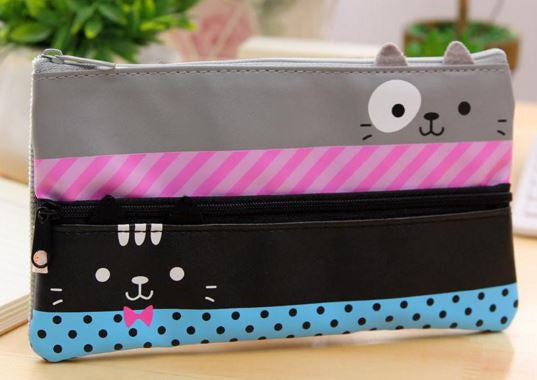 Double Zipper Cat Pencil Case - MIMO Pencil Case Shop  - 5