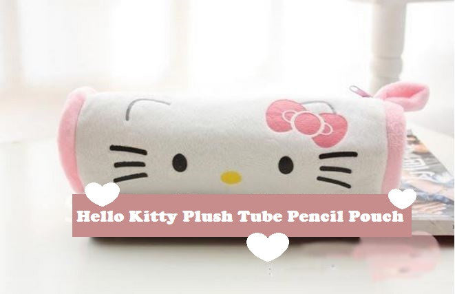Hello Kitty Plush Tube Pencil Pouch/ Cosmetic Bag