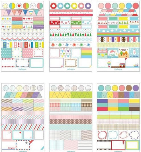 Set of 6 Colorful Planner Stickers