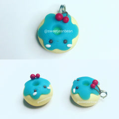 Blue Cherry Donut Charm