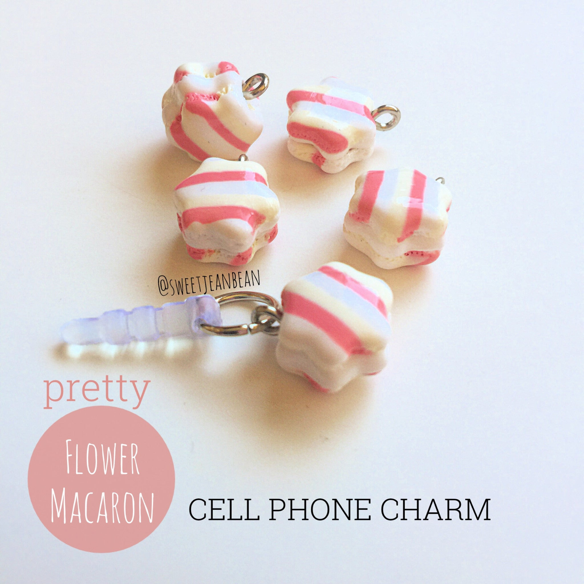 Flower Macaron Cell Phone Charm