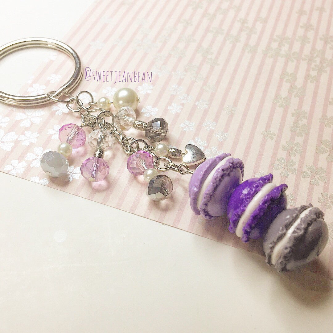 Purple Ombré Macaron Stack with Crystal and Pearl Keychain - MIMO Pencil Case Shop