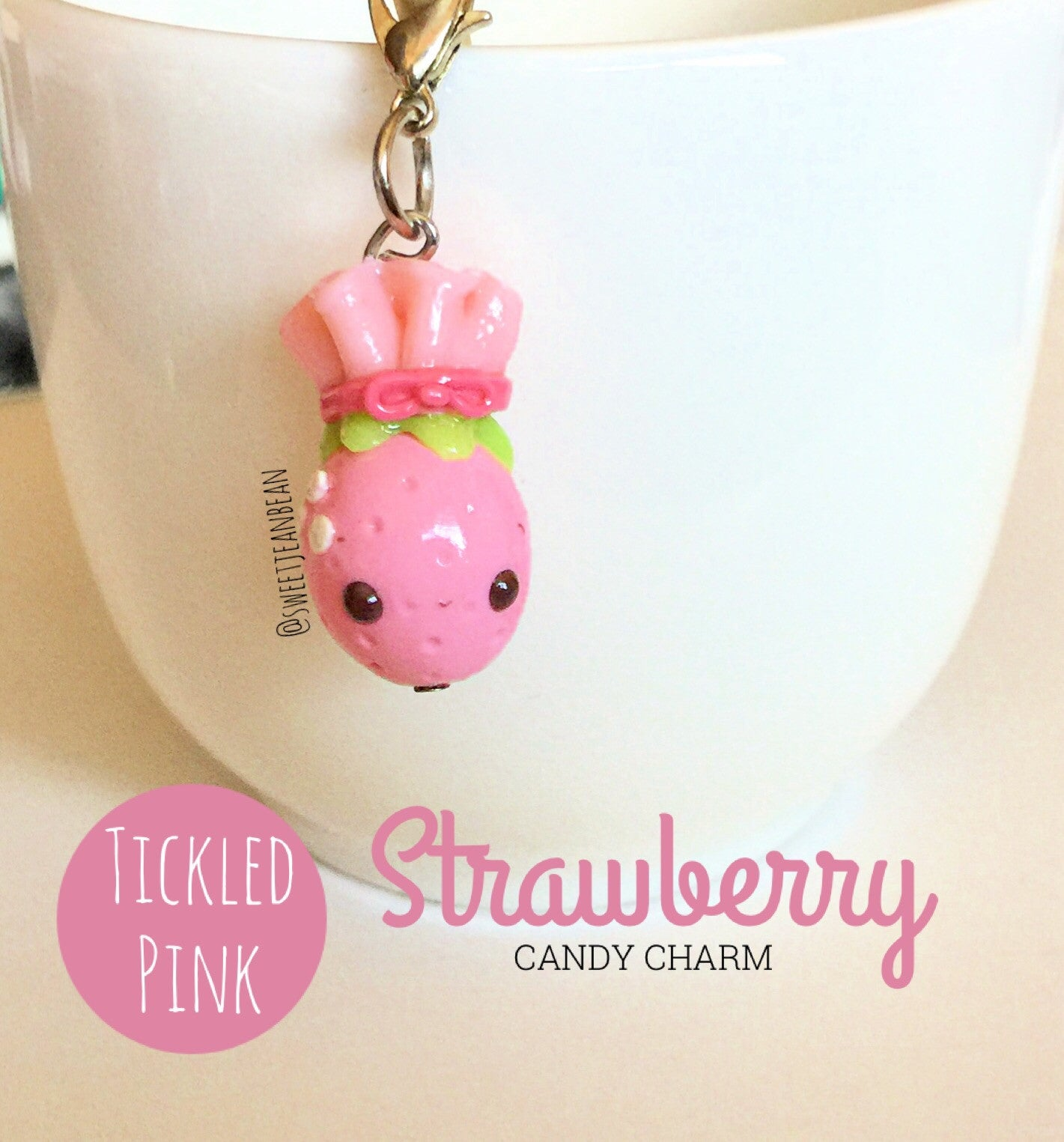 Tickled Pink Strawberry Candy Charm