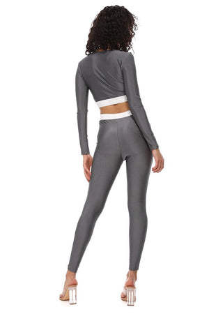 Grey Stretch Pants Set