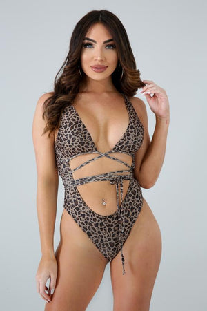 Mocha Leopard Wrap Swimsuit