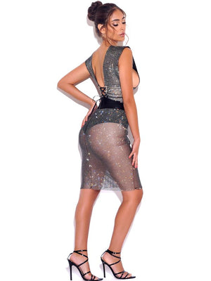 Rhinestone Mesh Skirt Set