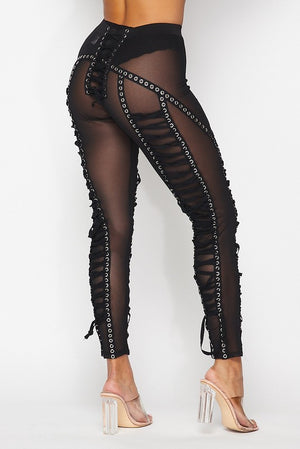 Tie Me Up Pants Black