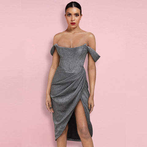 Lorena Silver Bodycon Dress